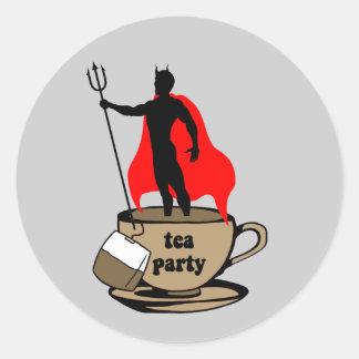 Fiesta del té anti del diablo pegatina redonda