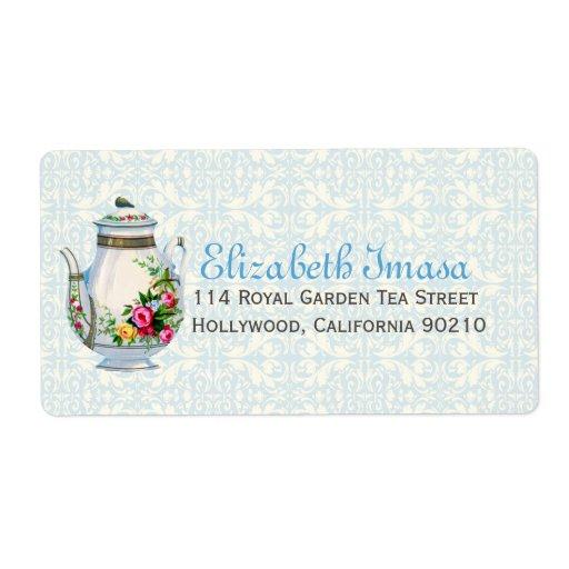 Fiesta del té azul del francés del vintage etiqueta de envío