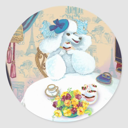 Fiesta del té blanca de la magdalena del caniche pegatina redonda