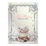 Fiesta del té blanca del vintage de los remolinos invitación 12,7 x 17,8 cm