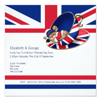 Fiesta del té británica invitación 13,3 cm x 13,3cm