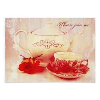 Fiesta del té clásica del grunge del victorian invitación 12,7 x 17,8 cm