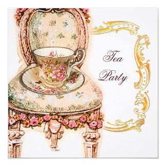 "Fiesta del té color de rosa rosada del Victorian Invitación 5.25"" X 5.25"""