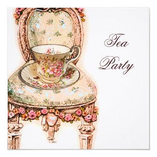 Fiesta del té color de rosa rosada del Victorian Invitación 13,3 Cm X 13,3cm