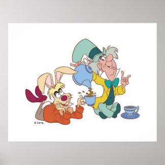 Fiesta del té con el sombrerero enojado Disney Póster