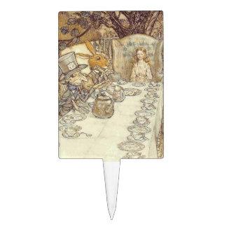 Fiesta del té con el sombrerero enojado figura de tarta