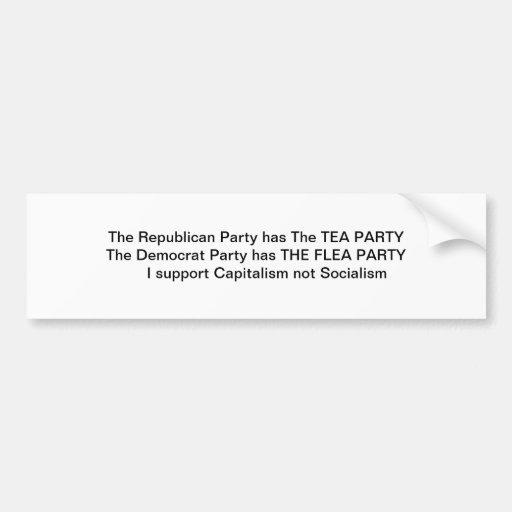 Fiesta del té contra el fiesta de la pulga pegatina de parachoque