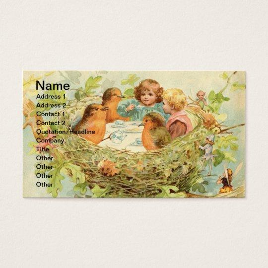 Fiesta del té de la jerarquía del pájaro del tarjetas de visita