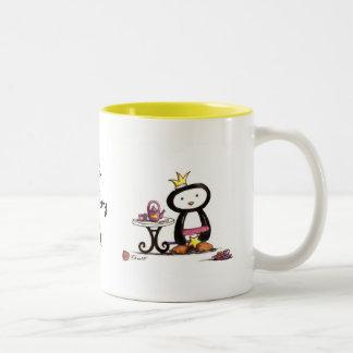 Fiesta del té de la pluma taza de café de dos colores