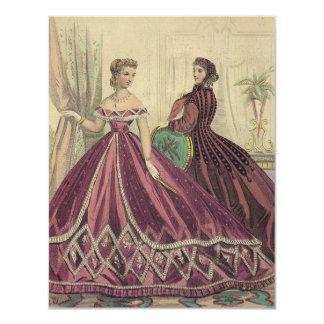 """Fiesta del té de las mujeres de los 1860s del invitación 4.25"""" x 5.5"""""""