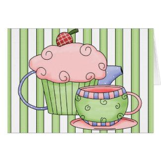 fiesta del té de las rayas tarjeta de felicitación