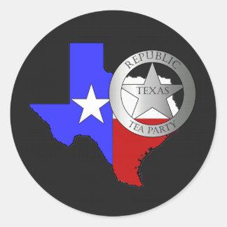 Fiesta del té de las Texas Rangers - negro Pegatina Redonda
