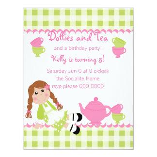 Fiesta del té de los carros invitación 10,8 x 13,9 cm