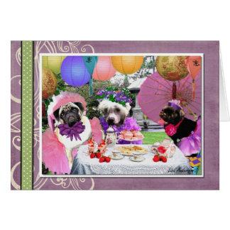 Fiesta del té del barro amasado tarjeta pequeña