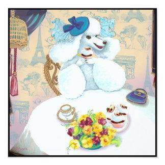 Fiesta del té del caniche y invitación blancas de
