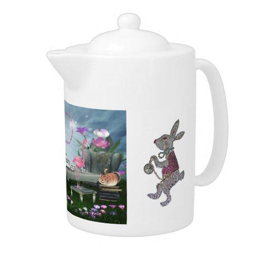 Fiesta del té del conejo del gato de Cheshire del