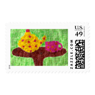 Fiesta del té del mosaico timbres postales