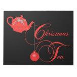 Fiesta del té del navidad, cordón rojo bloc de notas