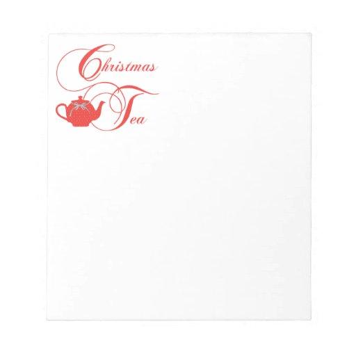 Fiesta del té del navidad, cordón rojo libretas para notas