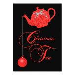 Fiesta del té del navidad, cordón rojo invitación 12,7 x 17,8 cm