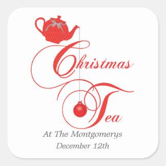 Fiesta del té del navidad, cordón rojo colcomanias cuadradas personalizadas