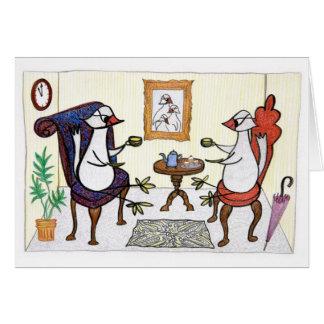 Fiesta del té del pájaro tarjeta de felicitación