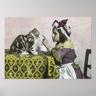 Fiesta del té del Victorian del vintage para el Póster