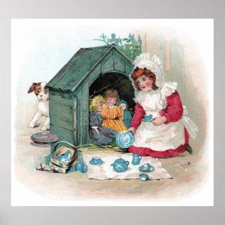 Fiesta del té del Victorian en caseta de perro Póster