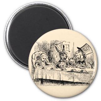 Fiesta del té del vintage; Alicia, sombrerero y li Imán De Frigorifico