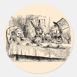 Fiesta del té del vintage; Alicia, sombrerero y Pegatinas Redondas