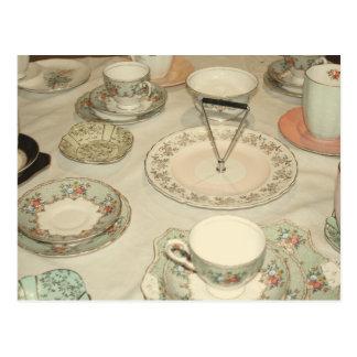 Fiesta del té del vintage, moda lamentable del postal