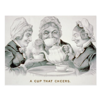 Fiesta del té del vintage, una taza que anima postal