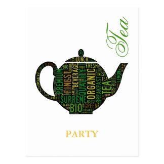 Fiesta del té - diseño negro del texto de la tarjeta postal