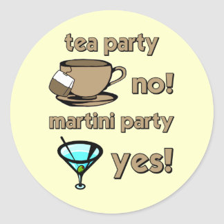 Fiesta del té divertida pegatina redonda