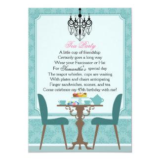 Fiesta del té elegante del cumpleaños del damasco comunicado