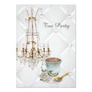 """fiesta del té elegante del vintage de la lámpara invitación 5"""" x 7"""""""