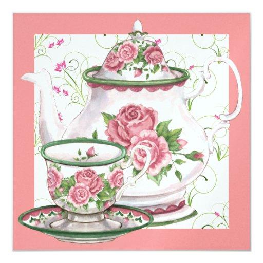 """Fiesta del té elegante - SRF Invitación 5.25"""" X 5.25"""""""