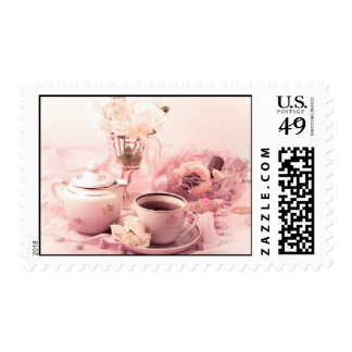 Fiesta del té en rosa sello postal