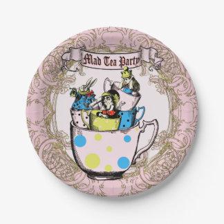 Fiesta del té enojada Alicia del sombrerero en el Plato De Papel De 7 Pulgadas