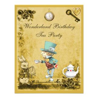 Fiesta del té enojada amarilla del cumpleaños del invitacion personal