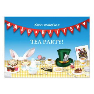 Fiesta del té enojada del sombrerero invitaciones personalizada