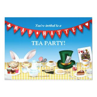 Fiesta del té enojada del sombrerero invitación 12,7 x 17,8 cm
