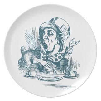 Fiesta del té enojada del sombrerero platos de comidas
