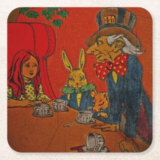 Fiesta del té enojada del sombrerero posavasos personalizable cuadrado