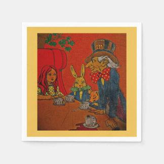 Fiesta del té enojada del sombrerero servilleta de papel