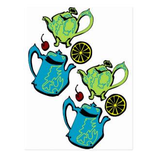 Fiesta del té enojada del sombrerero postal