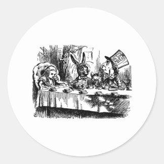 Fiesta del té enojada etiquetas redondas