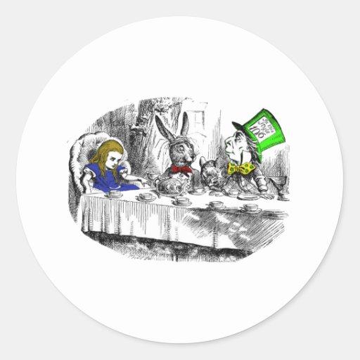 Fiesta del té enojada pegatinas redondas