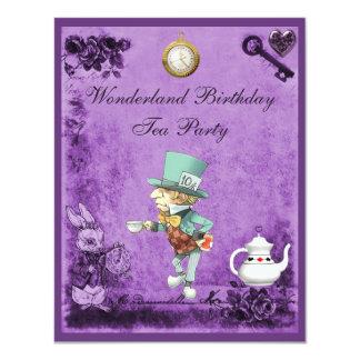 "Fiesta del té enojada púrpura del cumpleaños del invitación 4.25"" x 5.5"""