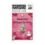 Fiesta del té enojada rosada del cumpleaños del franqueo